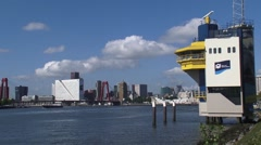 Radar Post (VTS) of the Rotterdam Port Authority monitoring Meuse (Nieuwe Maas) - stock footage