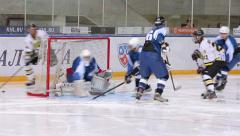 Scoring opportunity and roughing the gates of the enemy. Ice hockey match Stock Footage