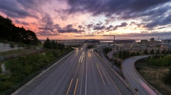 Time Lapse of Long Exposure Freeway Traffic in Seattle Washington at Sunset 4k Arkistovideo