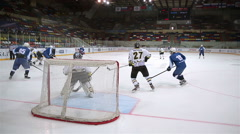 Great Shot on goal! Forward drives towards goal and scores! Stock Footage