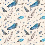 Watercolor Tribal Feather Pattern - stock illustration