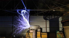 4K Indoor Lightning from a Tesla COil - stock footage