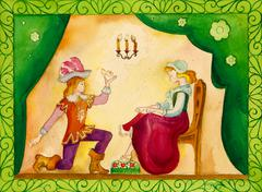 Stock Illustration of Illustration for the fairy tale, watercolor. Performed in Russian style