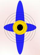 Blue propeller with a yellow center on a beige background Stock Illustration