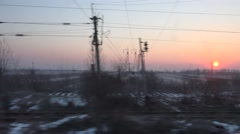4K POV Point of view train pass oil cistern wagon sunset sunrise winter day snow Stock Footage