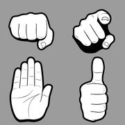 Set of hands in many and different gesture. Vector illustration Stock Illustration