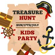 Pirates kids party announcement poster - stock illustration
