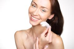 Smooth and delicate skin of the face, secret to a youthful appearance. - stock photo