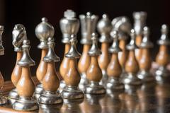 Aligned chess pieces Stock Photos