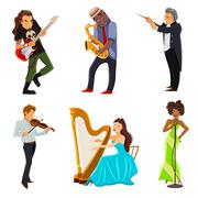 Musicians flat icons set - stock illustration