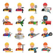 Worker Icons Set Stock Illustration