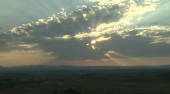 Time Lapse of Crepuscular Rays Rocky Mountain Sunset Stock Footage