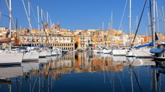 View on Malta bay Dahla tad-Dockyard between Senglea and Birgu - stock footage