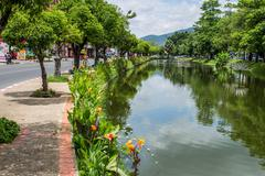 The moat of the old city of chiang mai Stock Photos