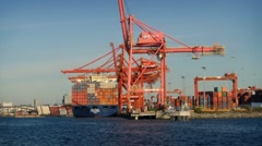 Passing Cranes and Shipping Containers at Shipyard - stock footage
