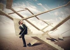 Endless stairs of business - stock photo