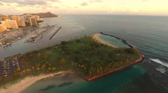 Sunset Aerial over Ala Moana & Magic Island Stock Footage