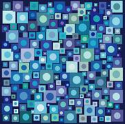 Circle square collection in many blue purple over deep blue Stock Illustration