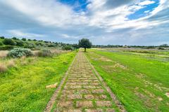 Landscape in Selinunte archaeological area, Sicily - stock photo