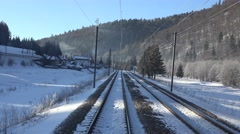 4K POV Point of view train pass mountain resort window panorama snowy forest day Stock Footage