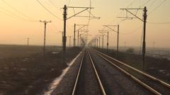 4K POV Point of view train infrastructure orange sunlight morning winter daytime - stock footage