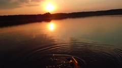 Wooden oars at sunset Stock Footage