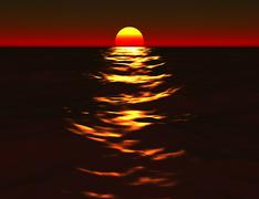 Beautiful Sunset Sea - stock illustration
