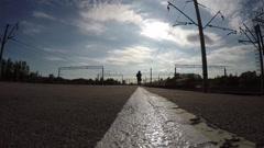 Silhouette of man running towards camera. - stock footage