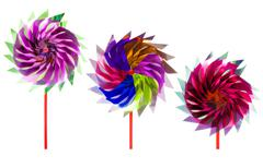 Group of Colorful children's pinwheel Stock Photos