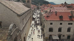 Dubrovnik Croatia _ Looking down on old town from the City walls. Stock Footage