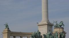 Statues on Hosok ter Archangel statue Budapest  slow tilt  4K 2160p UltraHD  Stock Footage