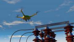 UAV drone inspecting electrical transmission equipment, 3D animation - stock footage
