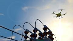 UAV drone inspecting electrical transmission equipment, 3D animation Stock Footage