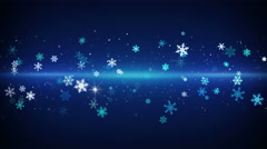 Blue light stripe and snowflakes loopable animation 4k (4096x2304) Stock Footage
