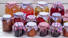 Glass jars with canned food. Stock Footage