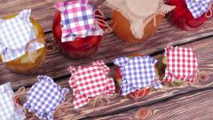 Canned fruits and vegetables homemade. Stock Footage