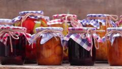 Home canned in glass jars. Stock Footage