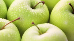 Close up of organic Golden Delicious apples. Stock Footage