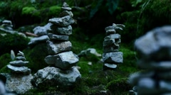 Cairn kern stones blue river 04 Stock Footage