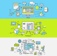 Thin Lines Icons Seo, Analisis, Pay Per Click - stock illustration