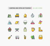 Line Icons Camping Equipment, Open Air Tourism Stock Illustration