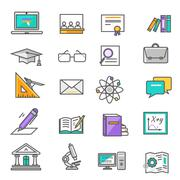 Set of Thin Lines Icons Education Piirros
