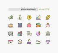 Flat Thin Line Icons of Money and Finance - stock illustration
