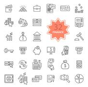 Thin Line Icons of Finance - stock illustration