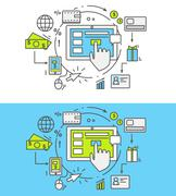 Flat Line Pay Per Click Stock Illustration