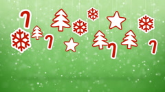 Hanging christmas decoration and snowfall loopable background Stock Footage