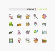 Set of Thin Lines Weekend Picnic Icons Piirros