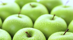Close up of organic Granny Smith apples. Stock Footage