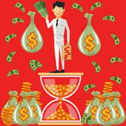 Businessman standing on the hourglass - stock illustration