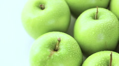 Close up of organic Granny Smith apples. - stock footage